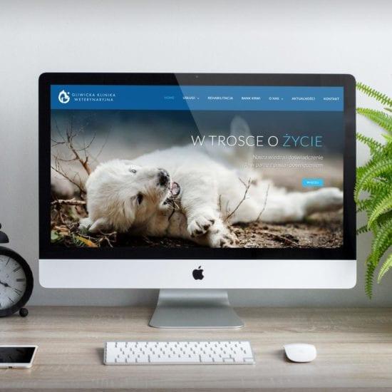 Dla Gliwickiej Kliniki Weterynaryjnej oprócz kompletnej identyfikacji wizualnej, stworzyliśmy również responsywną stronę internetową.