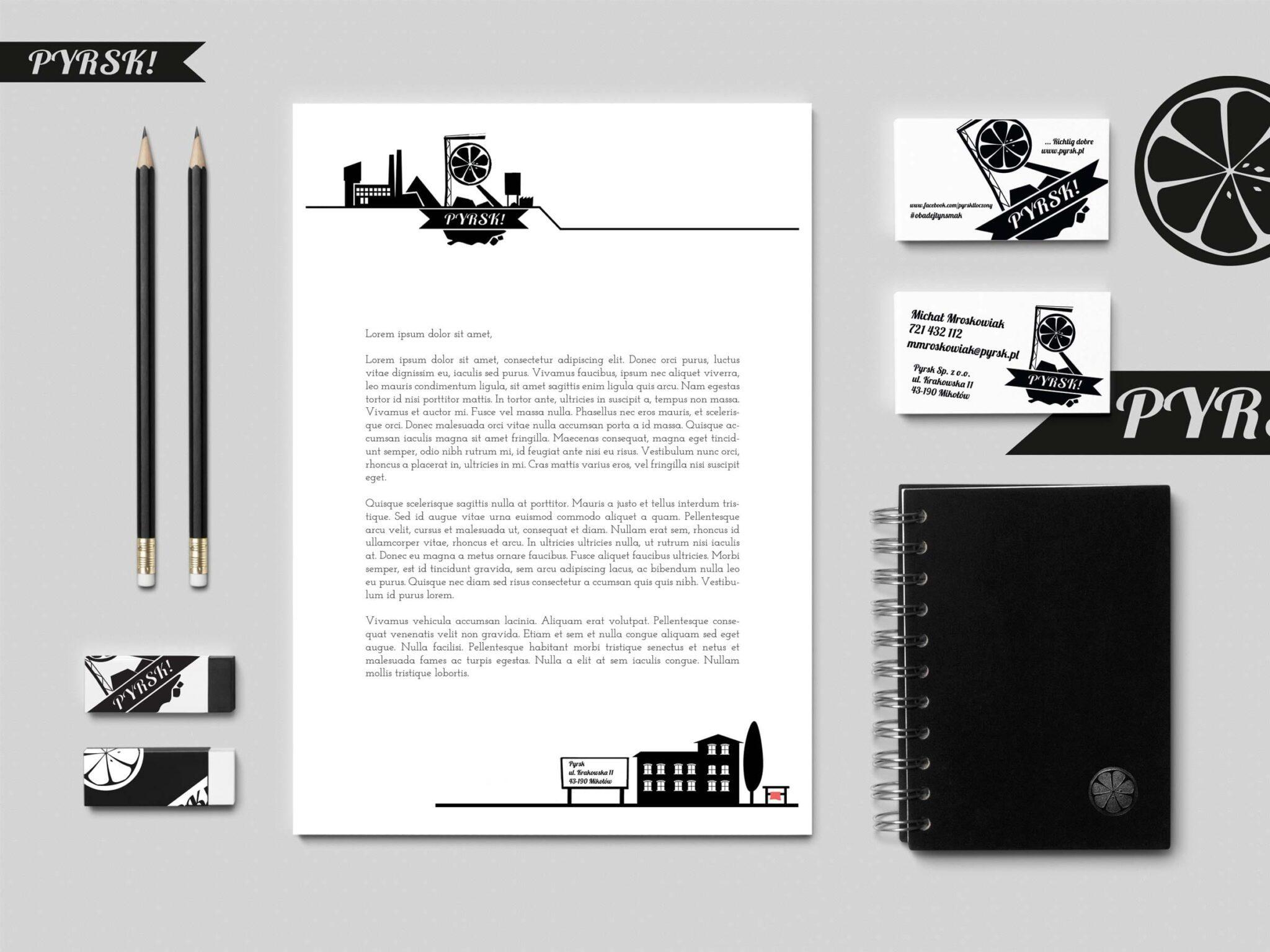 pyrsk branding projektowanie wizytowek, papieru firmowego, kopert, teczek