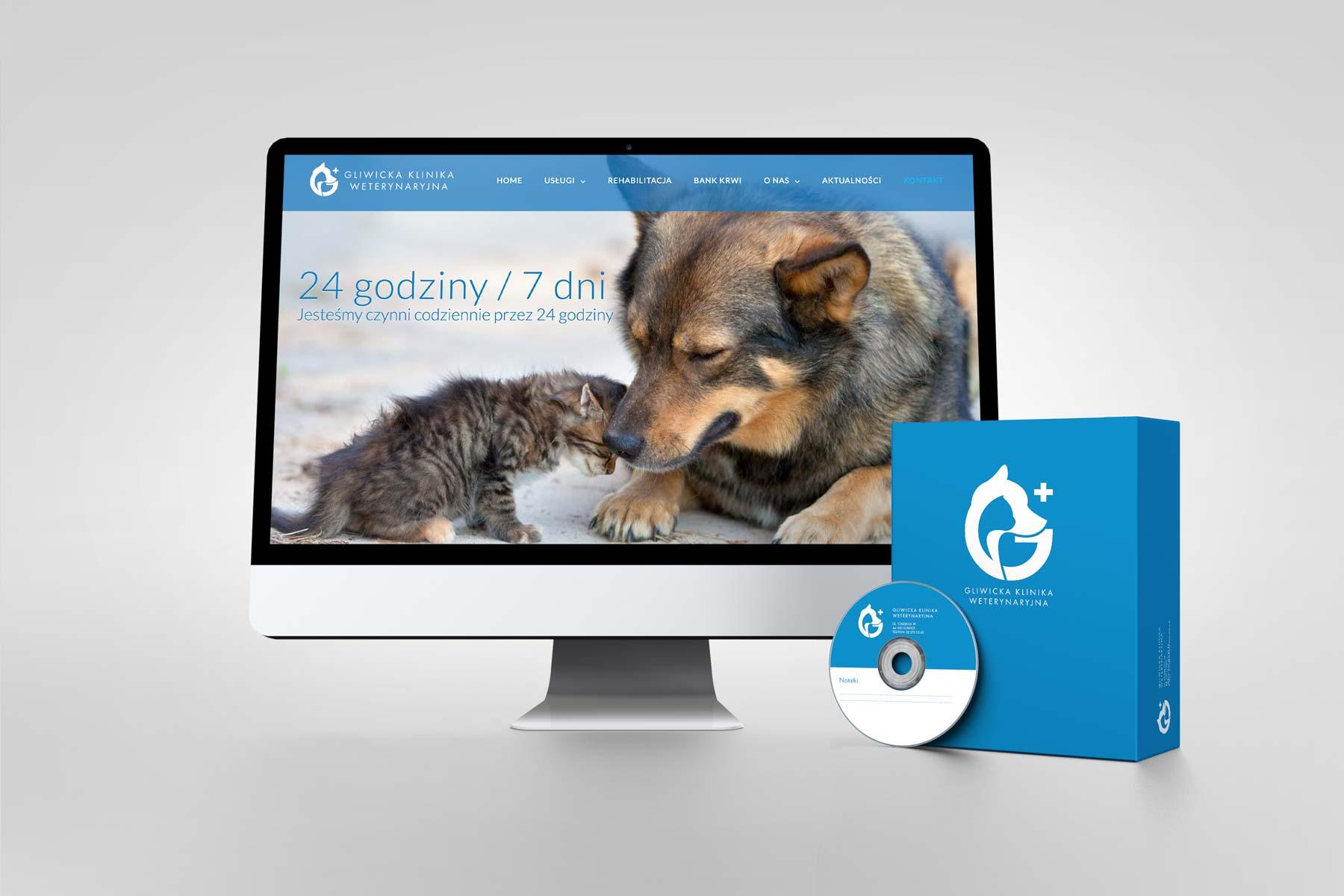 Oferta dla klinik weterynaryjnych i weterynarzy. Responsywna strona internetowa oraz pakiet identyfikacji wizualnej dla Gliwickiej Kliniki Weterynaryjnej
