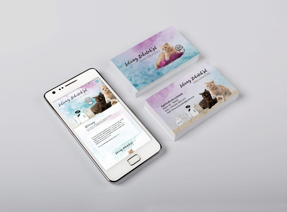 Oferta dla hodowli kotów - projektowanie wizytówek dla hodowli.