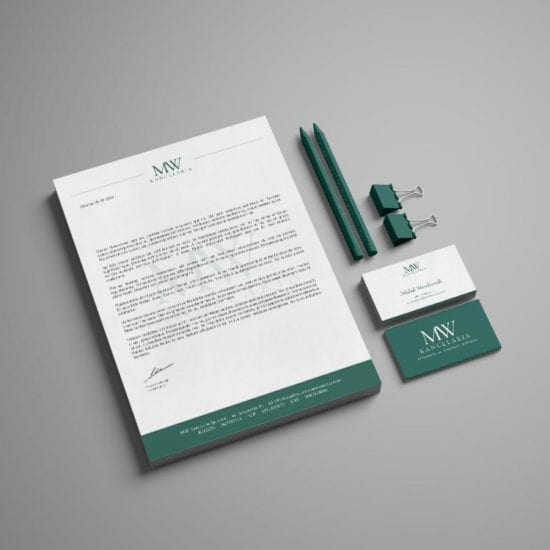 Branding - Dla firmy MW Kancelaria stworzyliśmy logo, wizytówki, papier firmowy, projekt pieczątki, teczki oraz roll up.